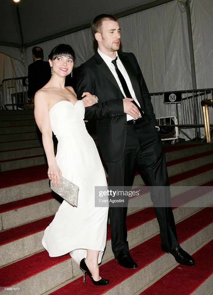 Actress Christina Ricci and actor Chris Evans leave The Metropolitan Museum of Art's Costume Institute Gala May 07, 2007 in New York City.
