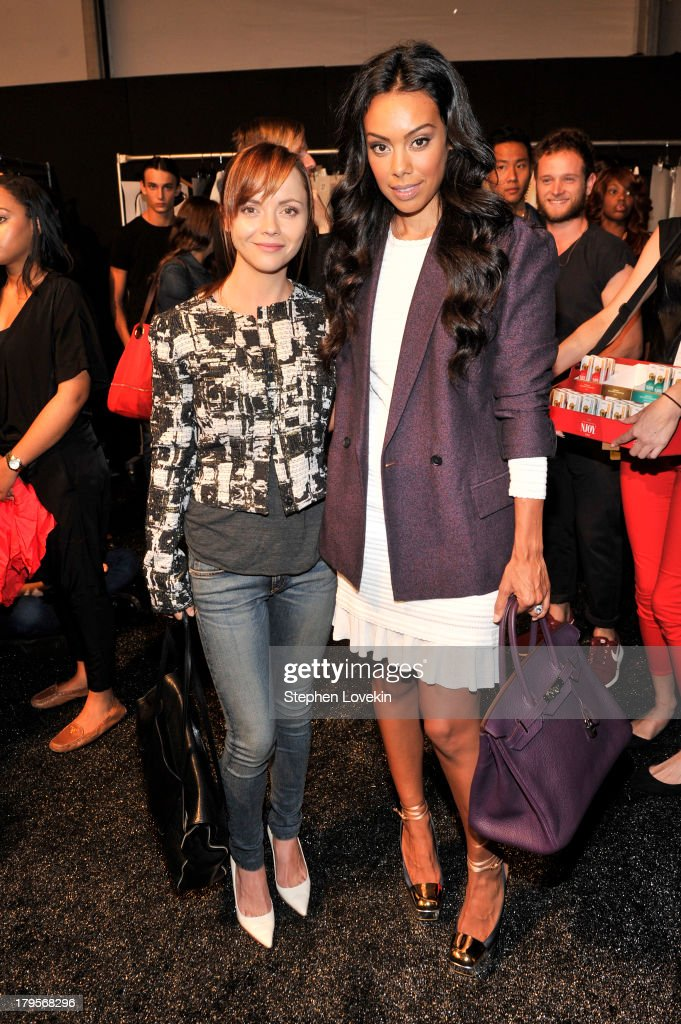 Actress <a gi-track='captionPersonalityLinkClicked' href=/galleries/search?phrase=Christina+Ricci&family=editorial&specificpeople=239510 ng-click='$event.stopPropagation()'>Christina Ricci</a> (L) and Brandi Garnett pose backstage at the Richard Chai Spring 2014 fashion show during Mercedes-Benz Fashion Week at The Stage at Lincoln Center on September 5, 2013 in New York City.