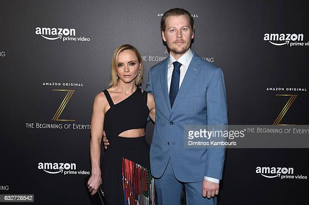 Actress Christina Ricci and David Hoflin attend the premiere event for Amazon Prime Video's Z THE BEGINNING OF EVERYTHING on January 25 2017 in New...