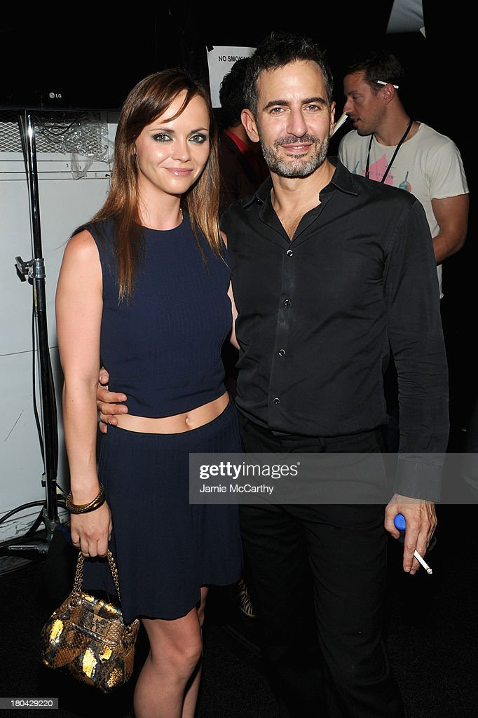 Actress <a gi-track='captionPersonalityLinkClicked' href=/galleries/search?phrase=Christina+Ricci&family=editorial&specificpeople=239510 ng-click='$event.stopPropagation()'>Christina Ricci</a> and designer Marc Jacobs pose backstage at the Marc Jacobs Spring 2014 fashion show at The New York State Armory, 68 Lexington on September 12, 2013 in New York City.