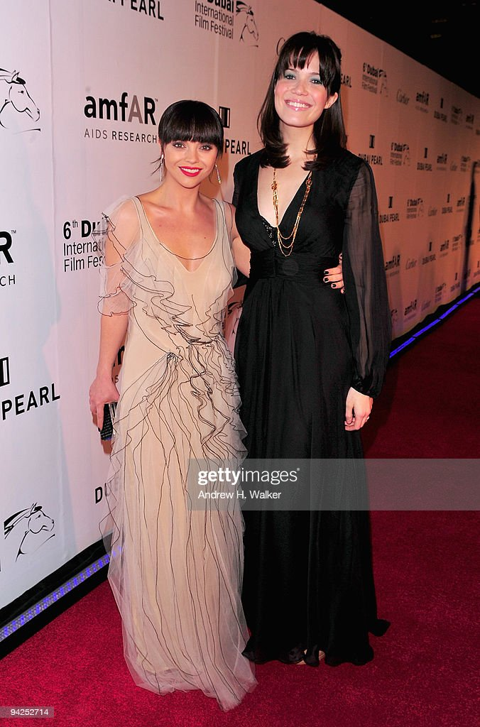 Actress Christina Ricci and singer Mandy Moore attend the 3rd Annual amfAR Cinema Against AIDS Dubai held at The Gate during day two of the 6th...