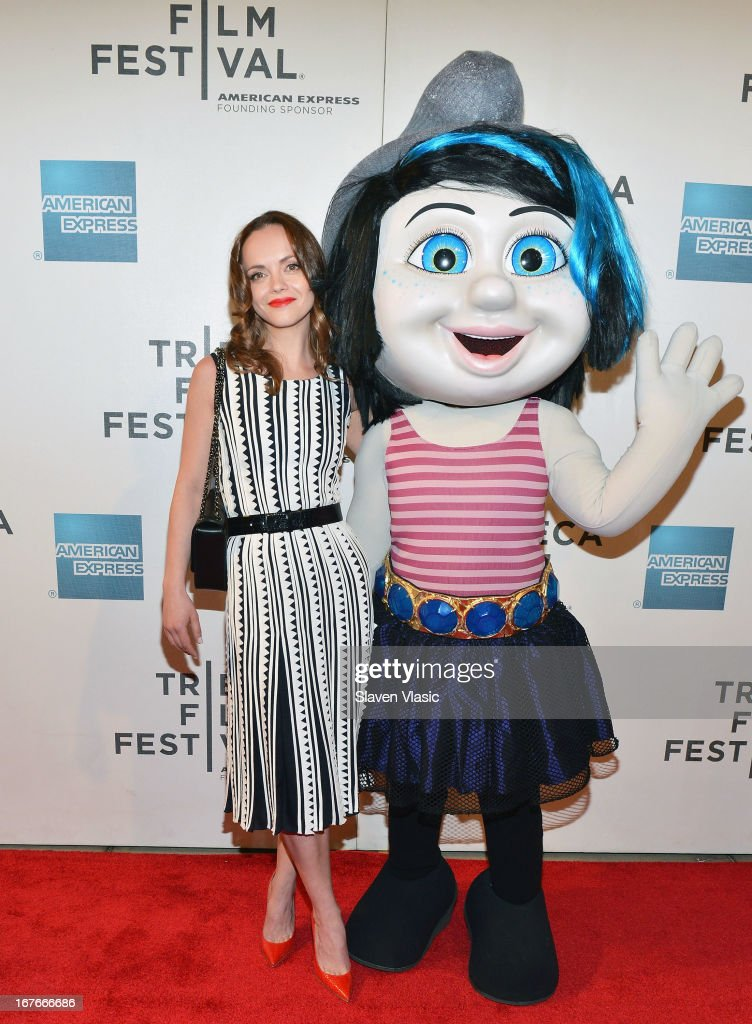 Actress Christina Ricci and the Smurf character Vexy attend the 'The Smurfs' Family Festival Screening during the 2013 Tribeca Film Festival on April 27, 2013 in New York City.
