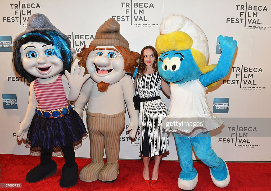 Actress <a gi-track='captionPersonalityLinkClicked' href=/galleries/search?phrase=Christina+Ricci&family=editorial&specificpeople=239510 ng-click='$event.stopPropagation()'>Christina Ricci</a> (C) and the Smurf characters (L-R) Vexy, Grouchy and Smurfette attend the 'The Smurfs' Family Festival Screening during the 2013 Tribeca Film Festival on April 27, 2013 in New York City.