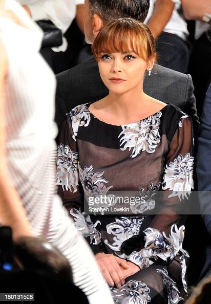 Actress Christina Ricci attends the Carolina Herrera fashion show during MercedesBenz Fashion Week Spring 2014 at The Theatre at Lincoln Center on...