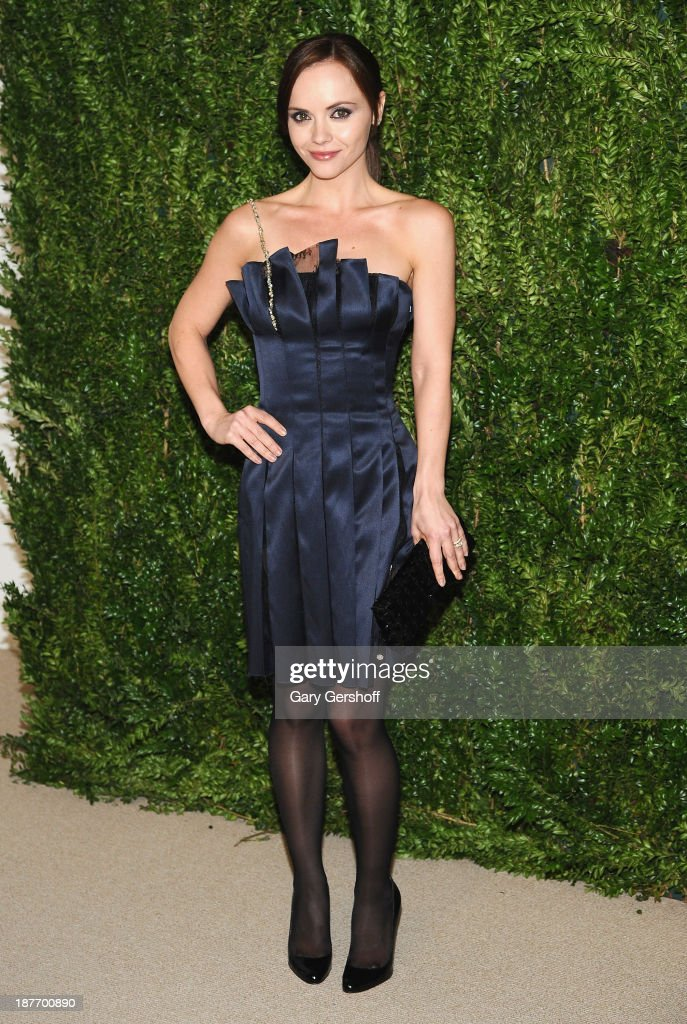 Actress <a gi-track='captionPersonalityLinkClicked' href=/galleries/search?phrase=Christina+Ricci&family=editorial&specificpeople=239510 ng-click='$event.stopPropagation()'>Christina Ricci</a> attends The CFDA and Vogue 2013 Fashion Fund Finalists Celebration at Spring Studios on November 11, 2013 in New York City.