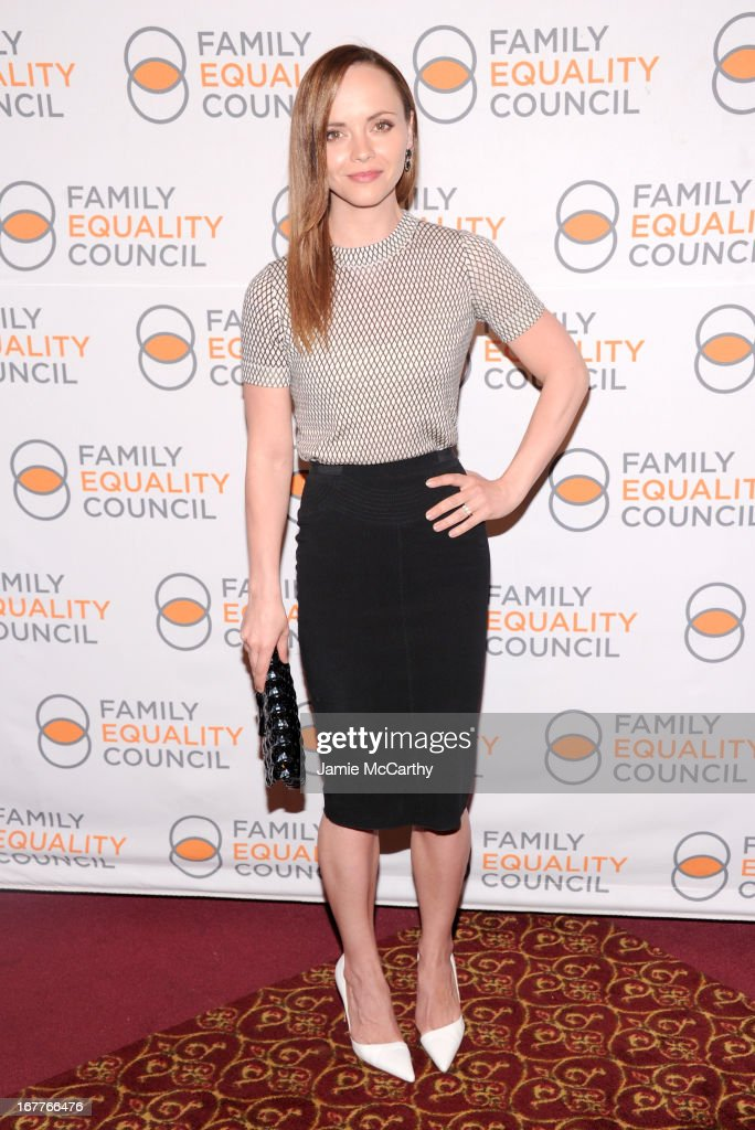 Actress <a gi-track='captionPersonalityLinkClicked' href=/galleries/search?phrase=Christina+Ricci&family=editorial&specificpeople=239510 ng-click='$event.stopPropagation()'>Christina Ricci</a> attends the Family Equality Council's Night at the Pier at Pier 60 on April 29, 2013 in New York City.