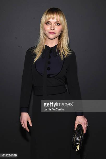 Actress Christina Ricci attends the Marc Jacobs Fall 2016 fashion show during New York Fashion Week at Park Avenue Armory on February 18 2016 in New...