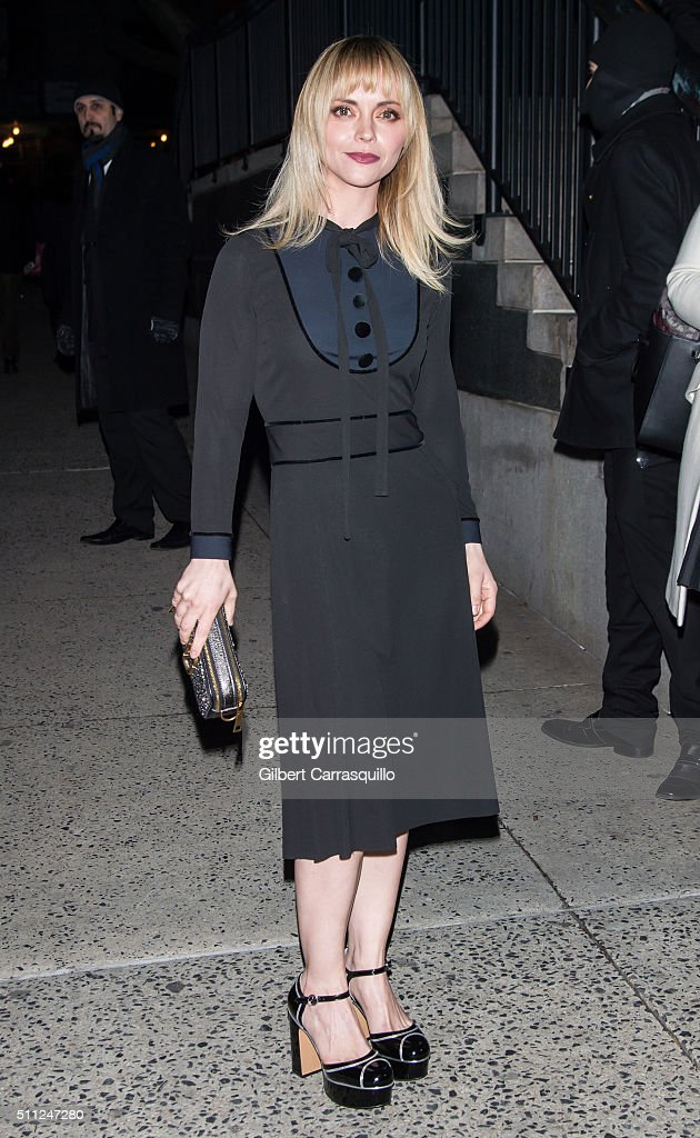 Actress Christina Ricci is seen outside the Marc Jacobs Fall 2016 fashion show during New York Fashion Week at Park Avenue Armory on February 18 2016...