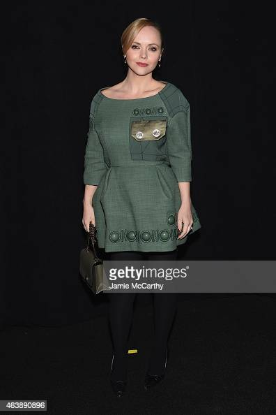 Actress Christina Ricci poses backstage at the Marc Jacobs fashion show during MercedesBenz Fashion Week Fall 2015 at Park Avenue Armory on February...