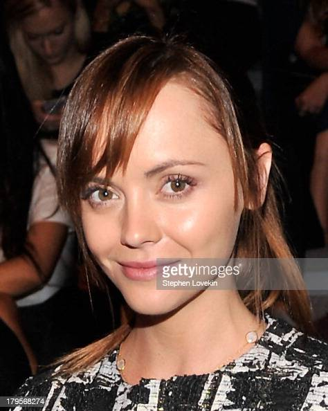 Actress Christina Ricci poses backstage at the Richard Chai Spring 2014 fashion show during MercedesBenz Fashion Week at The Stage at Lincoln Center...