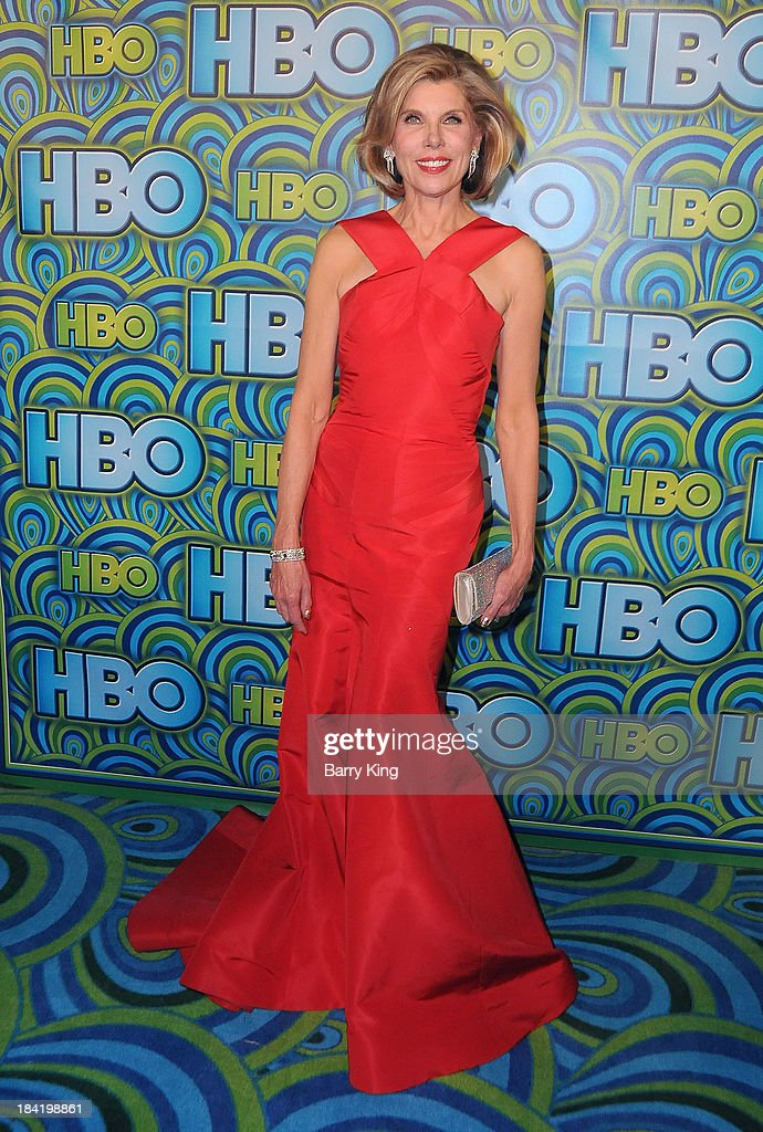 Actress <a gi-track='captionPersonalityLinkClicked' href=/galleries/search?phrase=Christine+Baranski&family=editorial&specificpeople=220787 ng-click='$event.stopPropagation()'>Christine Baranski</a> arrives at HBO's Annual Primetime Emmy Awards Reception on September 22, 2013 at The Plaza at the Pacific Design Center in West Hollywood, California.