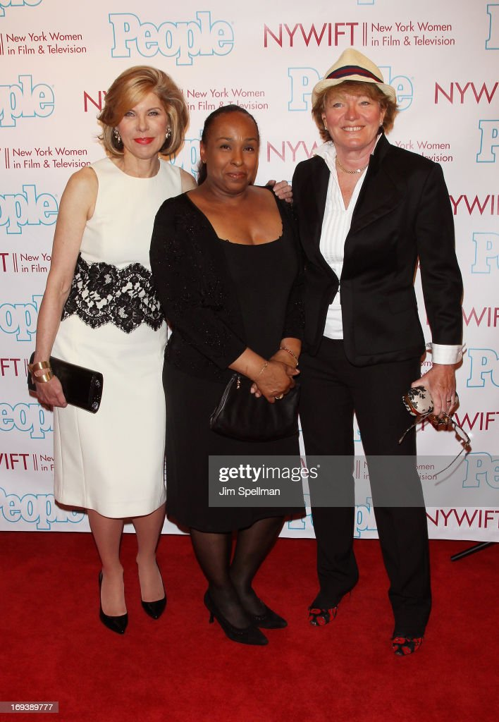 Actress <a gi-track='captionPersonalityLinkClicked' href=/galleries/search?phrase=Christine+Baranski&family=editorial&specificpeople=220787 ng-click='$event.stopPropagation()'>Christine Baranski</a>, makeup artist Andrea Miller and guest attend 2013 NYWIFT Designing Women Awards at The McGraw-Hill Building on May 23, 2013 in New York City.