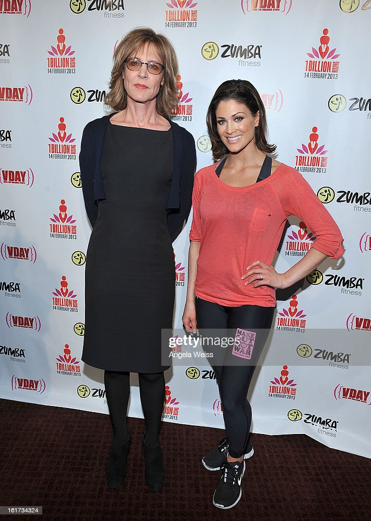 Actress <a gi-track='captionPersonalityLinkClicked' href=/galleries/search?phrase=Christine+Lahti&family=editorial&specificpeople=213107 ng-click='$event.stopPropagation()'>Christine Lahti</a> and professional wrestler Eve Torres attend One Billion Rising-Rise with V-Day and Zumba Fitness, One Billion Rising, a Global Day of Action to End Violence against Women and celebrate V-Day's 15th Anniversary at LA Live on February 14, 2013 in Los Angeles, California.