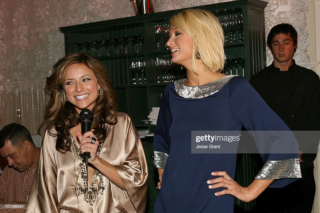 Actress Christine Lakin and actress Paris Hilton attends 'The Hottie and The Nottie' Dinner hosted by the Bon Appetit Supper Club on January 20 2008...