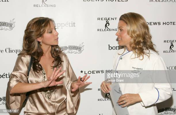 Actress Christine Lakin and chef Cat Cora attend 'The Hottie and The Nottie' Dinner hosted by the Bon Appetit Supper Club on January 20 2008 in Park...