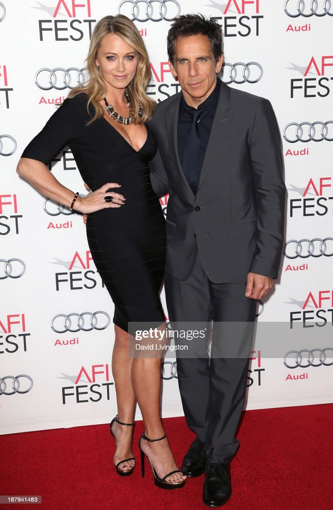 Actress <a gi-track='captionPersonalityLinkClicked' href=/galleries/search?phrase=Christine+Taylor&family=editorial&specificpeople=201985 ng-click='$event.stopPropagation()'>Christine Taylor</a> (L) and husband actor <a gi-track='captionPersonalityLinkClicked' href=/galleries/search?phrase=Ben+Stiller&family=editorial&specificpeople=201806 ng-click='$event.stopPropagation()'>Ben Stiller</a> attend the AFI FEST 2013 presented by Audi premiere of 'The Secret Life of Walter Mitty' at the TCL Chinese Theatre on November 13, 2013 in Hollywood, California.