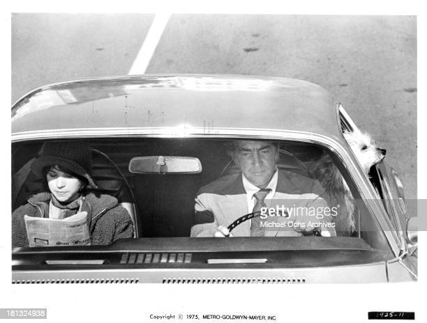 Actress Cindy Williams and actor Dean Martin on set of the MetroGoldwyn Mayer movie ' Mr Ricco' in 1975