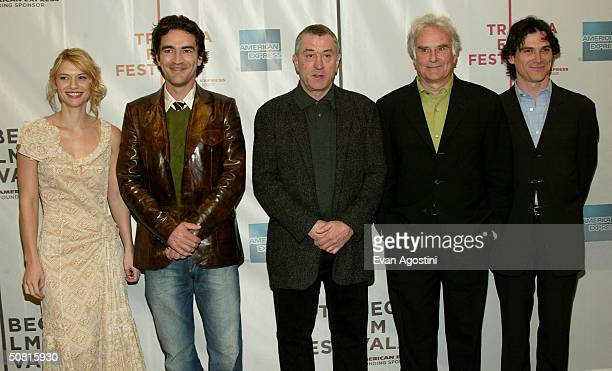 Actress Claire Danes actor Ben Chaplin Tribeca Film Festival cofounder Robert De Niro director Richard Eyre and actor Billy Crudup pose at the Gala...