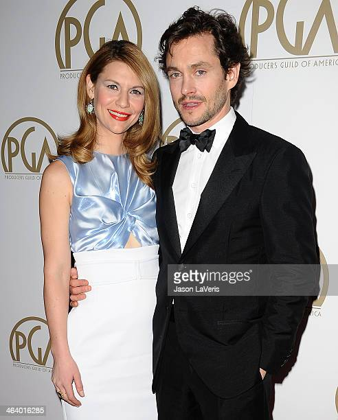 Actress Claire Danes and actor Hugh Dancy attend the 25th annual Producers Guild Awards at The Beverly Hilton Hotel on January 19 2014 in Beverly...