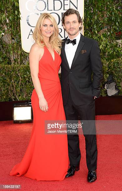Actress Claire Danes and Hugh Dancy arrive at the 70th Annual Golden Globe Awards held at The Beverly Hilton Hotel on January 13 2013 in Beverly...