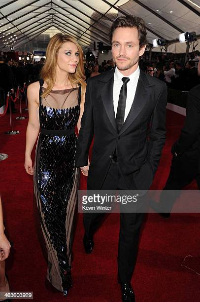 Actress Claire Danes and Hugh Dancy attend 20th Annual Screen Actors Guild Awards at The Shrine Auditorium on January 18 2014 in Los Angeles...