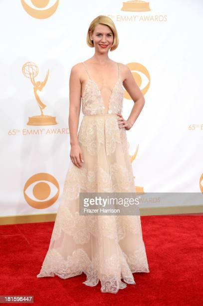 Actress Claire Danes arrives at the 65th Annual Primetime Emmy Awards held at Nokia Theatre LA Live on September 22 2013 in Los Angeles California