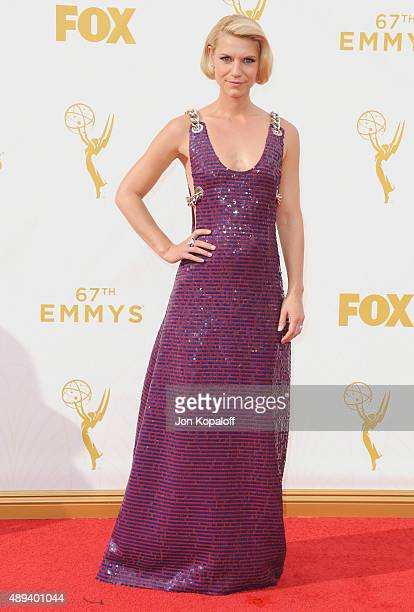 Actress Claire Danes arrives at the 67th Annual Primetime Emmy Awards at Microsoft Theater on September 20 2015 in Los Angeles California