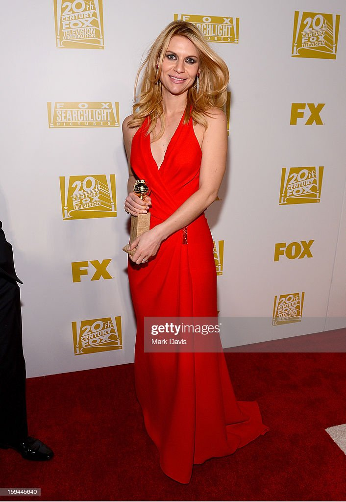 Actress <a gi-track='captionPersonalityLinkClicked' href=/galleries/search?phrase=Claire+Danes&family=editorial&specificpeople=202666 ng-click='$event.stopPropagation()'>Claire Danes</a> arrives at the FOX After Party for the 70th Annual Golden Globe Awards held at The FOX Pavillion at The Beverly Hilton Hotel on January 13, 2013 in Beverly Hills, California.