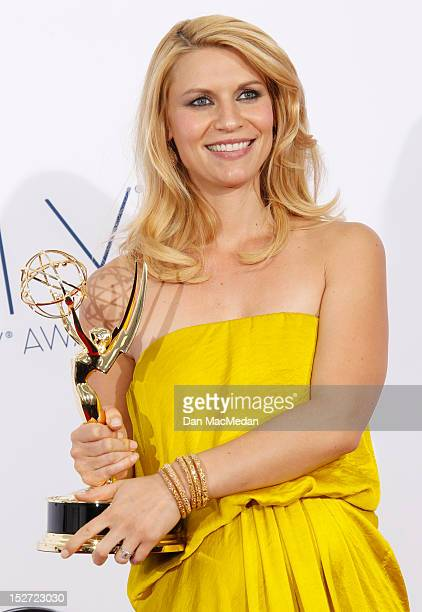 Actress Claire Danes poses in the press room at the 64th Primetime Emmy Awards held at Nokia Theatre LA Live on September 23 2012 in Los Angeles...