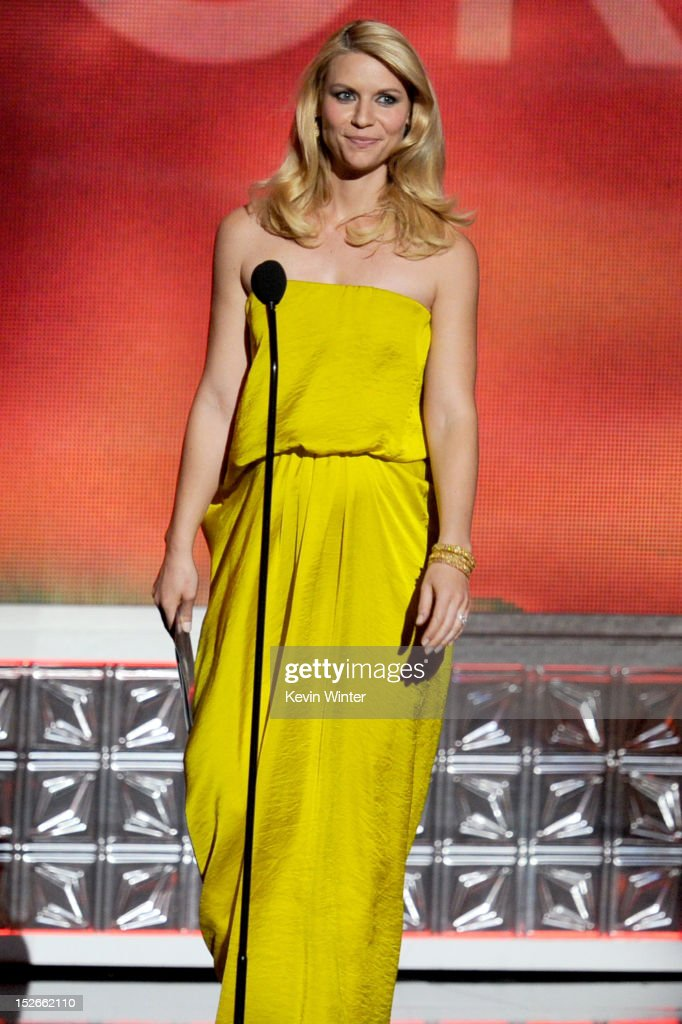 Actress Claire Danes speaks onstage during the 64th Annual Primetime Emmy Awards at Nokia Theatre L.A. Live on September 23, 2012 in Los Angeles, California.