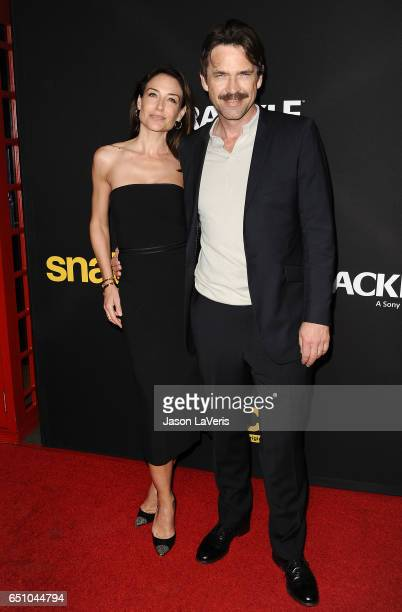 Actress Claire Forlani and actor Dougray Scott attend the premiere of 'Snatch' at Arclight Cinemas Culver City on March 9 2017 in Culver City...