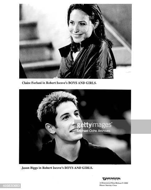 Actress Claire Forlani on set actor Jason Biggs on set of the movie 'Boys and Girls ' circa 2000