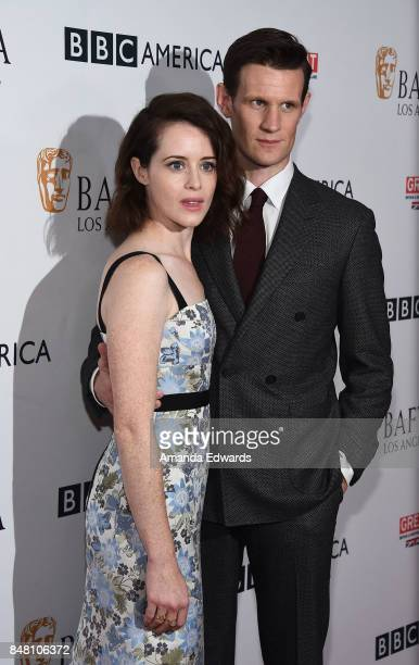 Actress Claire Foy and actor Matt Smith arrive at the BBC America BAFTA Los Angeles TV Tea Party 2017 at The Beverly Hilton Hotel on September 16...