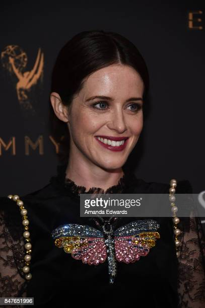 Actress Claire Foy arrives at the Television Academy's Performers Nominee Reception at the Wallis Annenberg Center for the Performing Arts on...