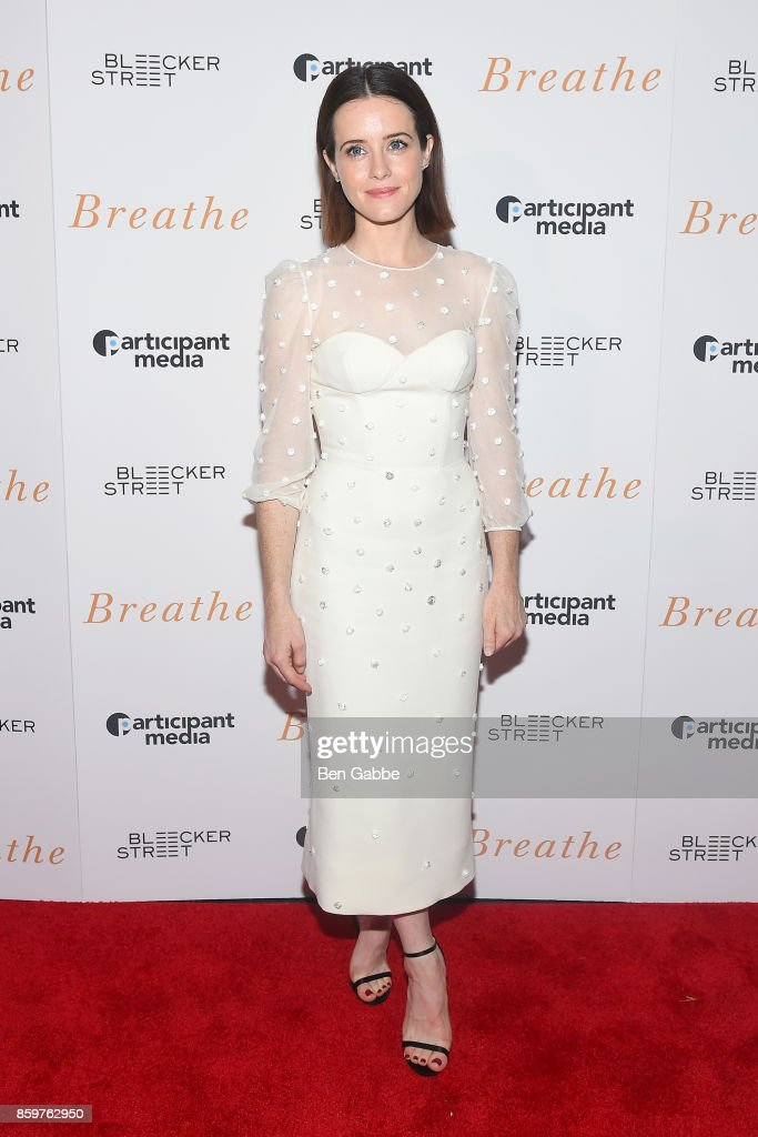 Actress Claire Foy attends the 'Breathe' New York Special Screening at AMC Loews Lincoln Square 13 theater on October 9, 2017 in New York City.
