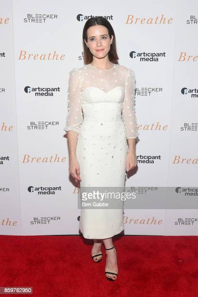 Actress Claire Foy attends the 'Breathe' New York Special Screening at AMC Loews Lincoln Square 13 theater on October 9 2017 in New York City