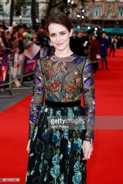 Actress Claire Foy attends the European Premiere of 'Breathe' on the opening night gala of the 61st BFI London Film Festival on October 4 2017 in...