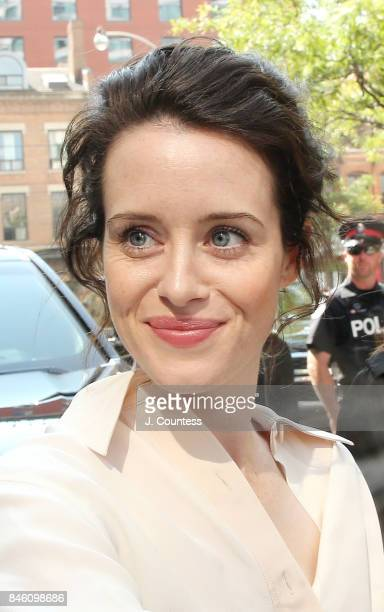 Actress Claire Foy is sighted on the streets of Toronto on September 12 2017 in Toronto Canada