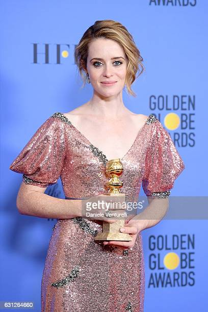 Actress Claire Foy winner of Best Actress in a Television Series Drama for 'The Crown' poses in the press room during the 74th Annual Golden Globe...
