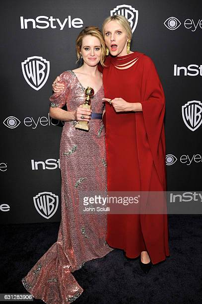 Actress Claire Foy winner of the Best Performance by an Actress in a Television Series Drama for 'The Crown' and InStyle EditorinChief Laura Brown...
