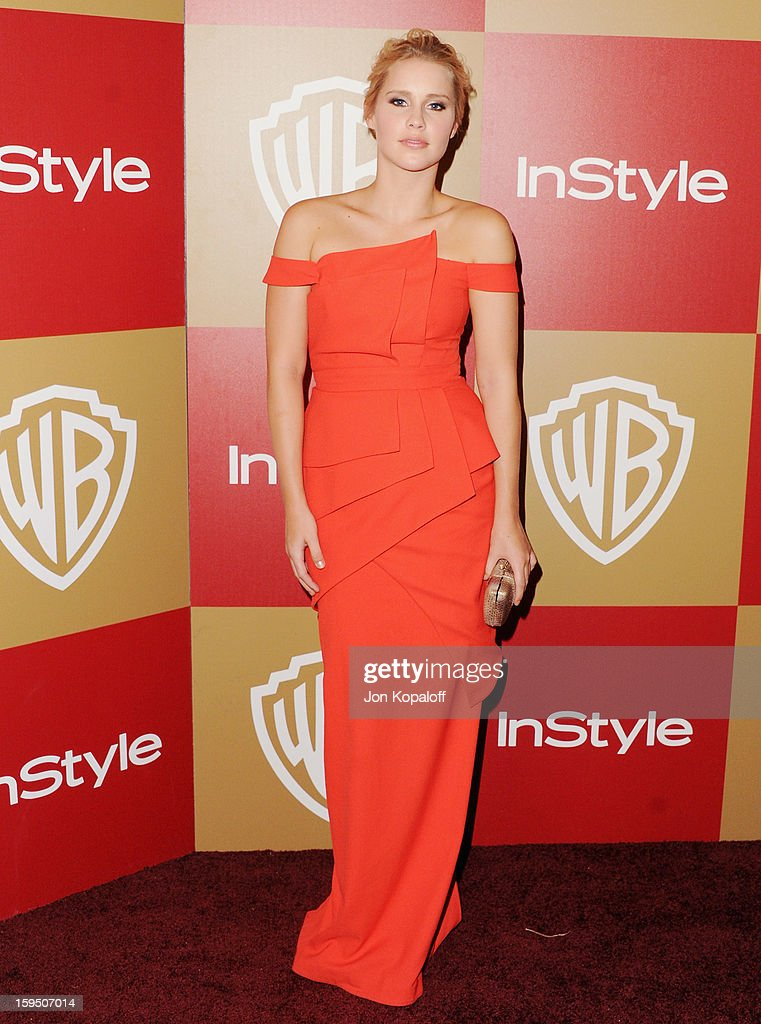 Actress Claire Holt arrives at the InStyle And Warner Bros. Golden Globe Party at The Beverly Hilton Hotel on January 13, 2013 in Beverly Hills, California.