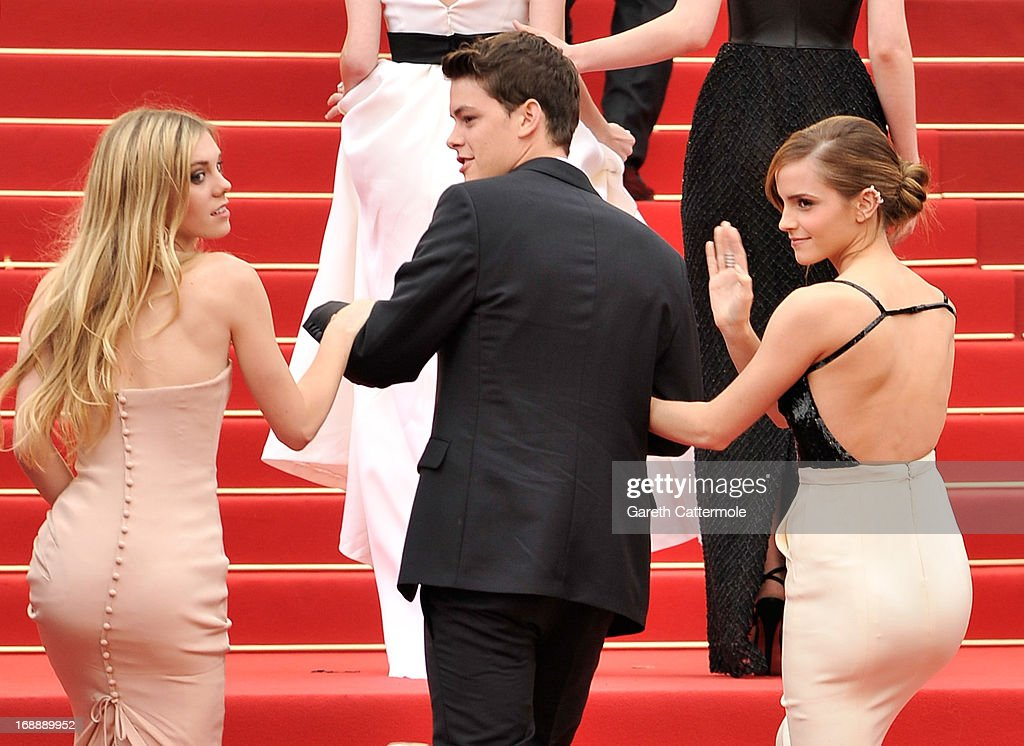 Actress Claire Julien, actor Israel Broussard and actress <a gi-track='captionPersonalityLinkClicked' href=/galleries/search?phrase=Emma+Watson&family=editorial&specificpeople=171373 ng-click='$event.stopPropagation()'>Emma Watson</a> attend 'The Bling Ring' premiere during The 66th Annual Cannes Film Festival at the Palais des Festivals on May 16, 2013 in Cannes, France.