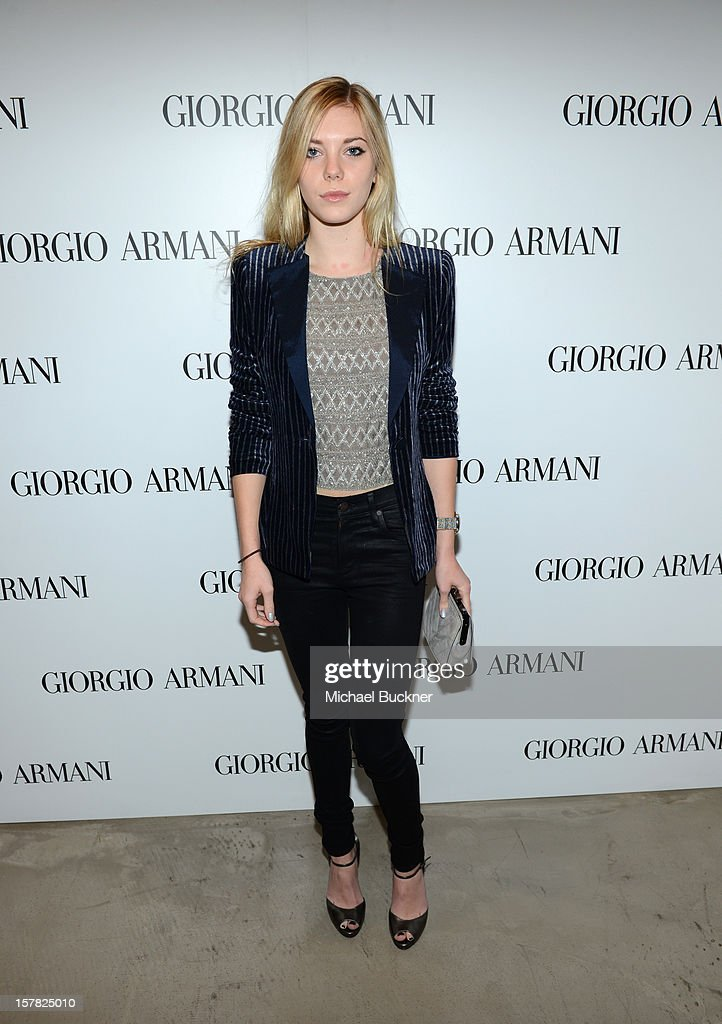 Actress Claire Julien, wearing Emporio Armani attends the Giorgio Armani Beauty Luncheon on December 6, 2012 in Beverly Hills, California.