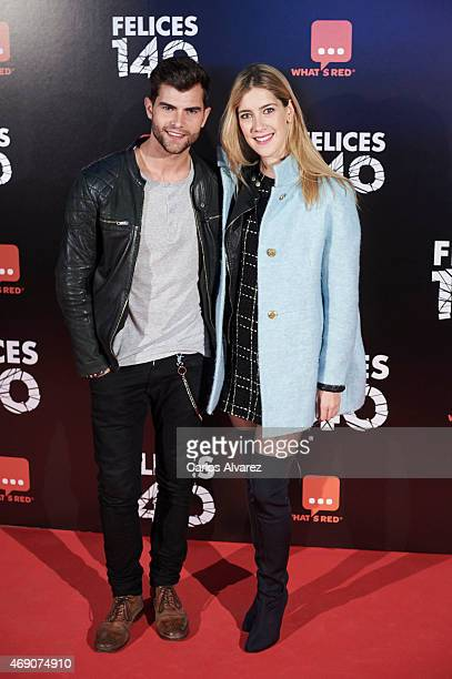 Actress Clara Alonso and actor Diego Dominguez attend 'Felices 140' premiere at the Capitol cinema on April 9 2015 in Madrid Spain