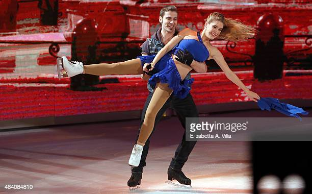 Actress Clara Alonso and her skating partner Marco Garavaglia perform during the 'Notti Sul Ghiaccio' TV Show at RAI Studios on February 21 2015 in...