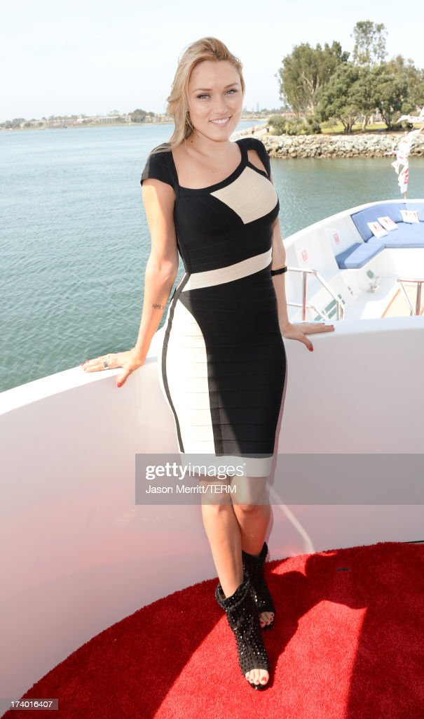 Actress <a gi-track='captionPersonalityLinkClicked' href=/galleries/search?phrase=Clare+Grant&family=editorial&specificpeople=4122159 ng-click='$event.stopPropagation()'>Clare Grant</a> attends the Nintendo Oasis on the TV Guide Magazine Yacht at Comic-Con day 1 on July 18, 2013 in San Diego, California.