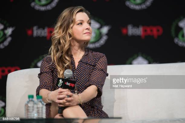 Actress Clare Kramer speaks on stage during Emerald City Comic Con at Washington State Convention Center on March 5 2017 in Seattle Washington