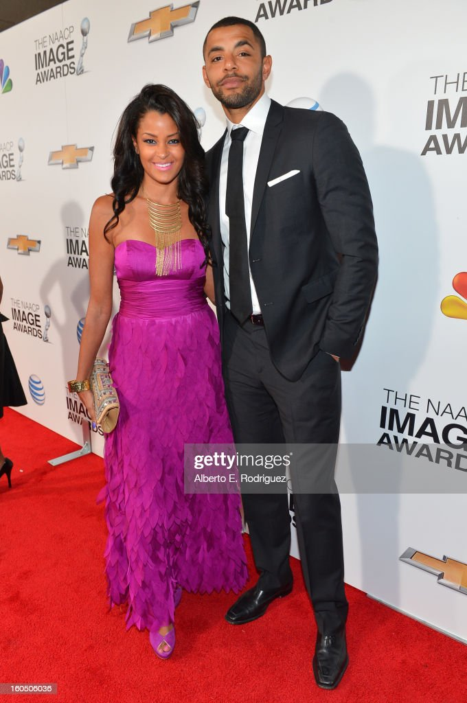 Actress Claudia Jordan and guest attend the 44th NAACP Image Awards at The Shrine Auditorium on February 1, 2013 in Los Angeles, California.