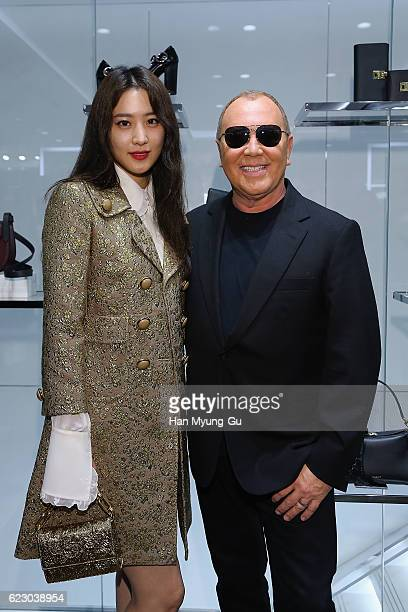 Actress Claudia Kim aka Kim SooHyeon and Michael Kors attend the Michael Kors Cheongdam Flagship Store Opening Cocktail Party on November 12 2016 in...