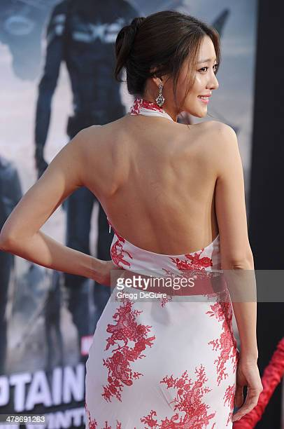 Actress Claudia Kim arrives at the Los Angeles premiere of 'Captain America The Winter Soldier' at the El Capitan Theatre on March 13 2014 in...